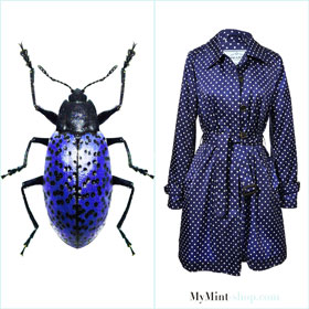 Prada raincoat, designer mantel, polka dot coat