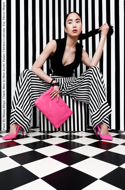 By Malene Birger pants, Thierry Kugler top, designer clothes, Christian Louboutin Pumps, Marc Jacobs Clutch, Onlineshop